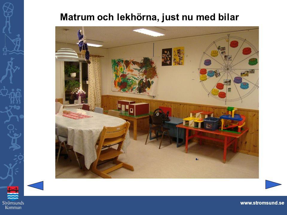 Matrum och lekhörna, just nu med bilar www.stromsund.se