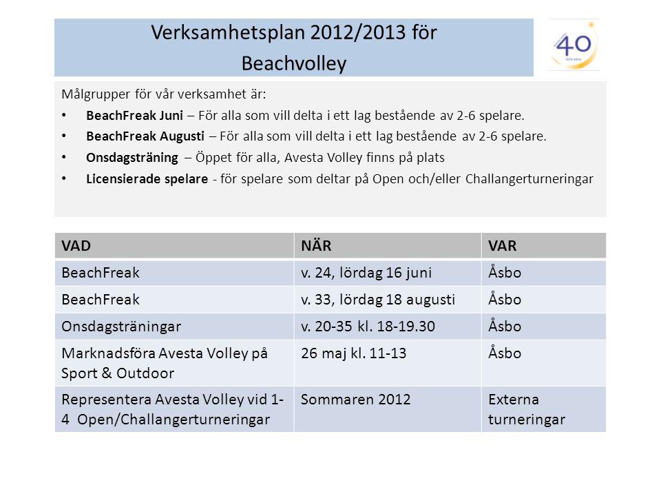Verksamhetsplan 2012/2013 för Beachvolley Målgrupper för vår verksamhet är: BeachFreak Juni – För alla som vill delta i ett lag bestående av 2-6 spelare.