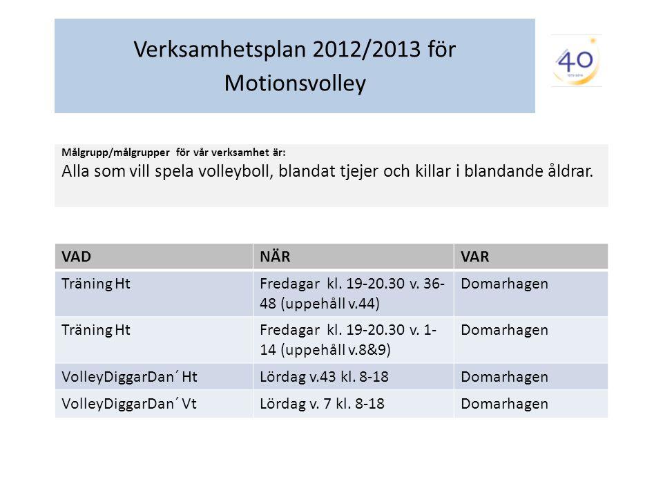 Verksamhetsplan 2012/2013 för Motionsvolley Målgrupp/målgrupper för vår verksamhet är: Alla som vill spela volleyboll, blandat tjejer och killar i blandande åldrar.