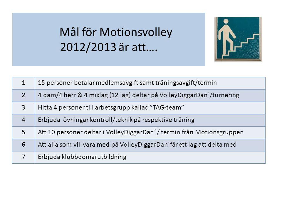 Verksamhetsplan 2012/2013 för Veteranvolley - Dam Målgrupp för vår verksamhet är: För tjejer som kan alla spelmoment, slag, teknik och placering på plan.