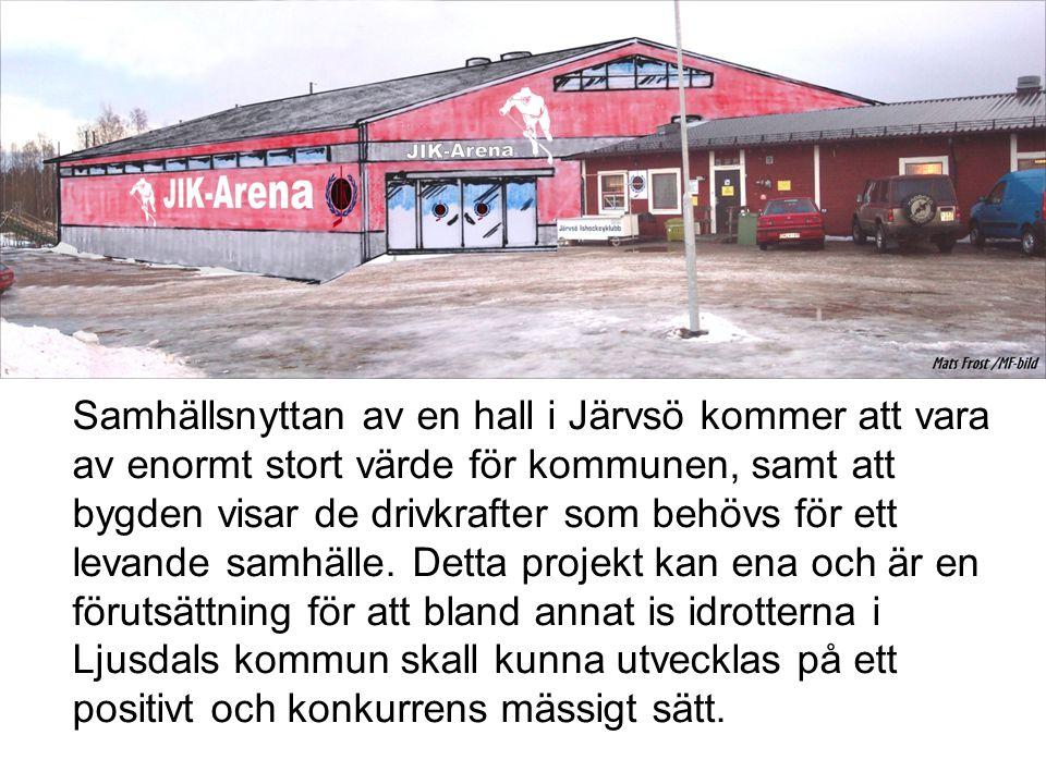 Samhällsnyttan av en hall i Järvsö kommer att vara av enormt stort värde för kommunen, samt att bygden visar de drivkrafter som behövs för ett levande samhälle.