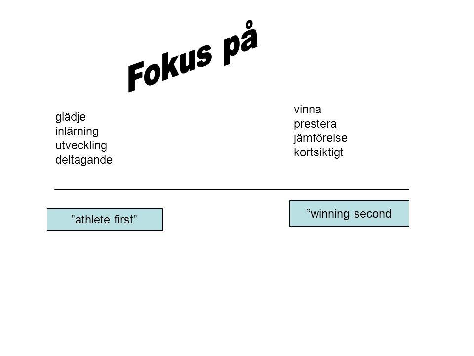 """""""athlete first"""" """"winning second glädje inlärning utveckling deltagande vinna prestera jämförelse kortsiktigt"""