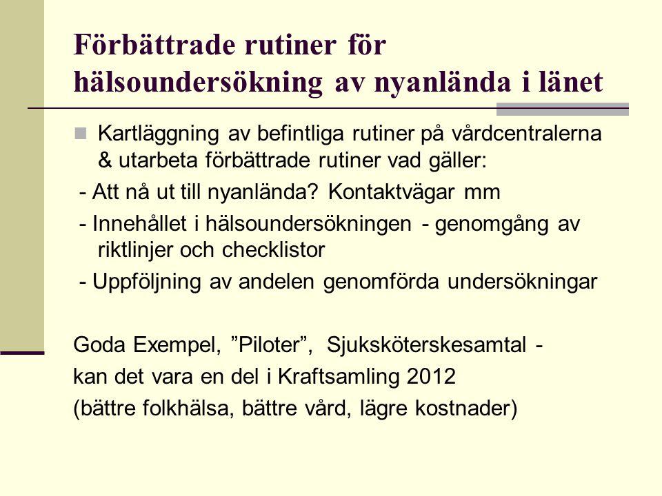 Genomgång av riktlinjer Grunddokument / Faktadokument Checklista/Kallelse Cosmic – dokumentation Mall, Åtgärdskod/registrering Ekonomi – ersätter Migrationsverket allas undersökningar.
