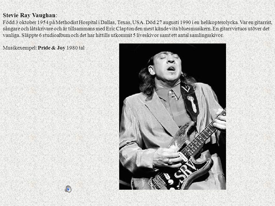 Stevie Ray Vaughan: Född 3 oktober 1954 på Methodist Hospital i Dallas, Texas, USA. Död 27 augusti 1990 i en helikopterolycka. Var en gitarrist, sånga