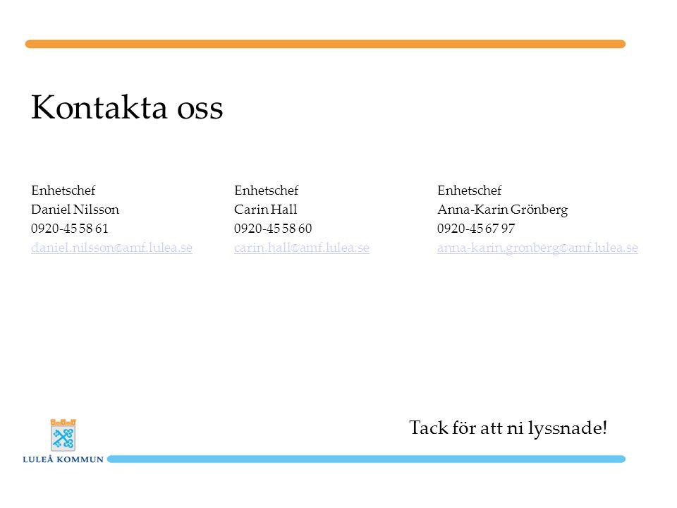 Kontakta oss EnhetschefEnhetschefEnhetschef Daniel NilssonCarin HallAnna-Karin Grönberg 0920-45 58 610920-45 58 600920-45 67 97 daniel.nilsson@amf.lul