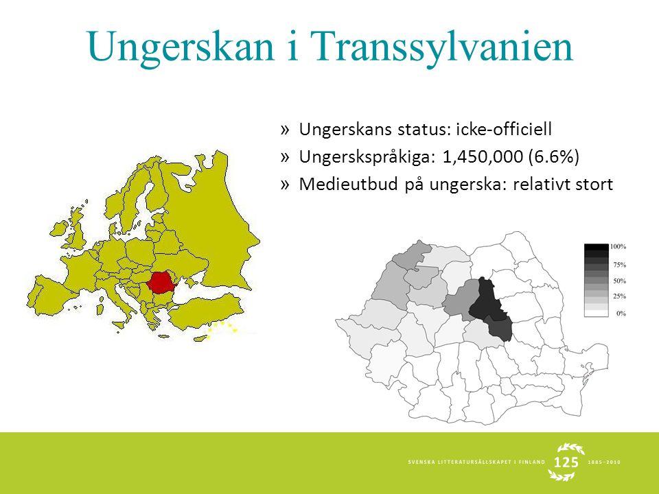 Ungerskan i Transsylvanien » Ungerskans status: icke-officiell » Ungerskspråkiga: 1,450,000 (6.6%) » Medieutbud på ungerska: relativt stort