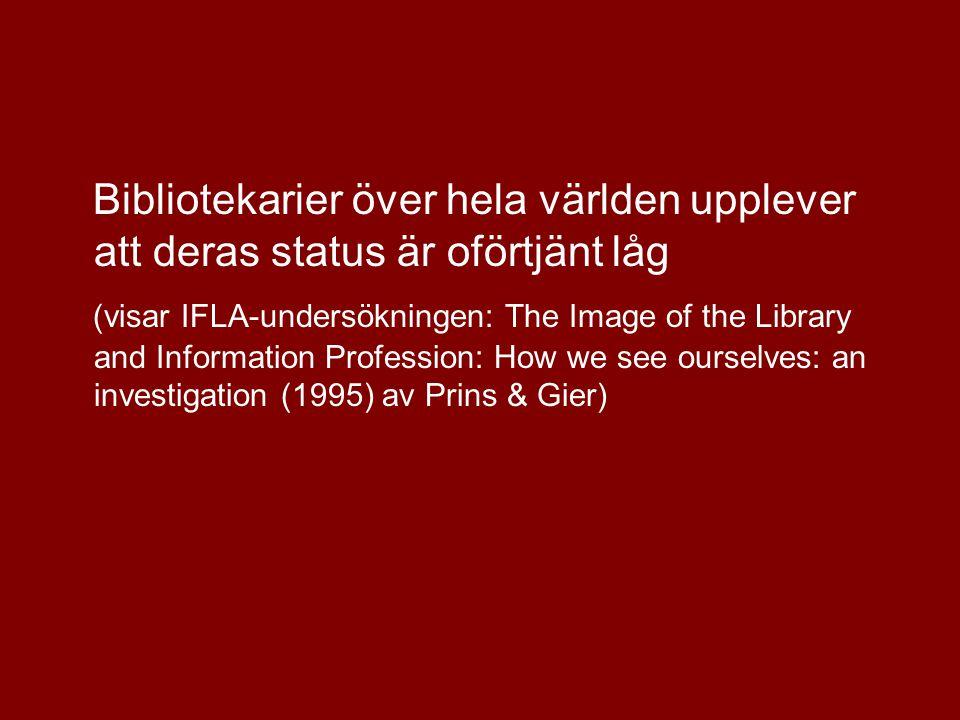 Bibliotekarier över hela världen upplever att deras status är oförtjänt låg (visar IFLA-undersökningen: The Image of the Library and Information Profession: How we see ourselves: an investigation (1995) av Prins & Gier)