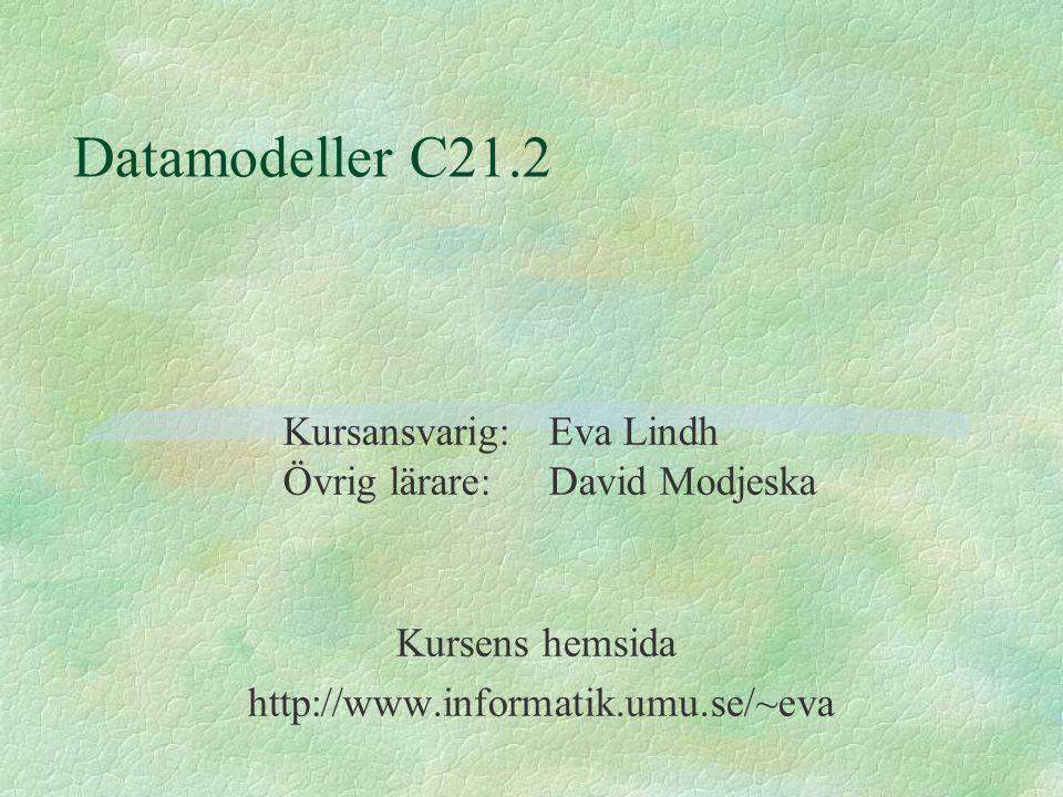 Datamodeller C21.2 Kursens hemsida http://www.informatik.umu.se/~eva Kursansvarig: Eva Lindh Övrig lärare:David Modjeska