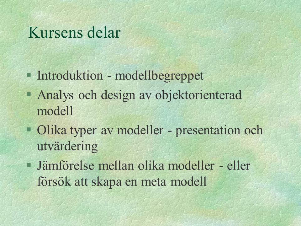 Kursens delar §Introduktion - modellbegreppet §Analys och design av objektorienterad modell §Olika typer av modeller - presentation och utvärdering §J
