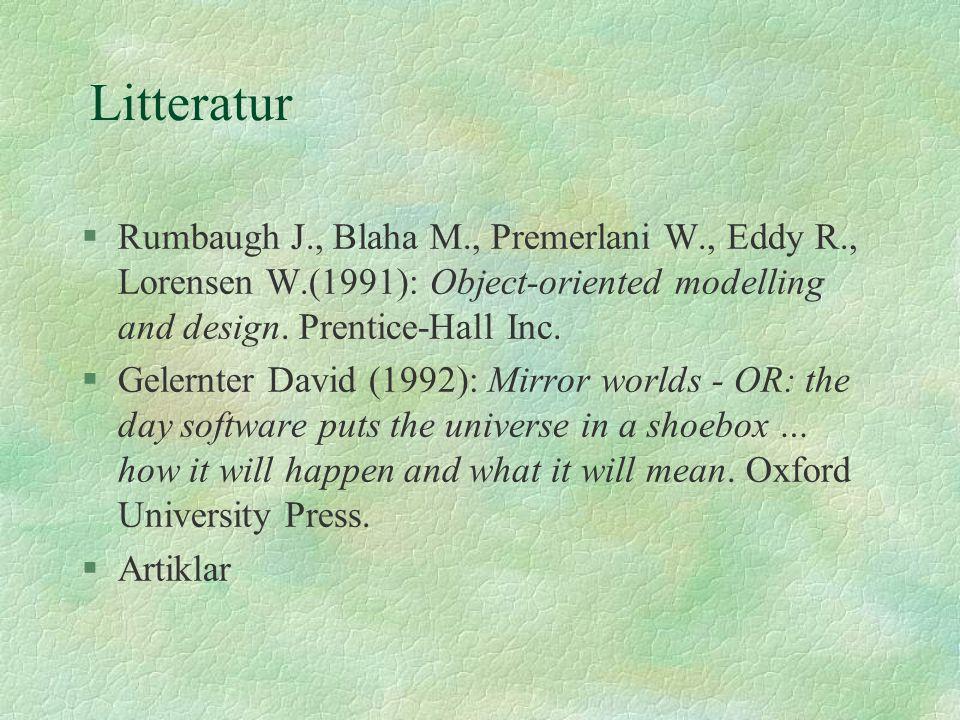Litteratur §Rumbaugh J., Blaha M., Premerlani W., Eddy R., Lorensen W.(1991): Object-oriented modelling and design. Prentice-Hall Inc. §Gelernter Davi
