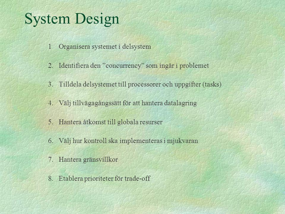 """System Design 1Organisera systemet i delsystem 2.Identifiera den """"concurrency"""" som ingår i problemet 3.Tilldela delsystemet till processorer och uppgi"""