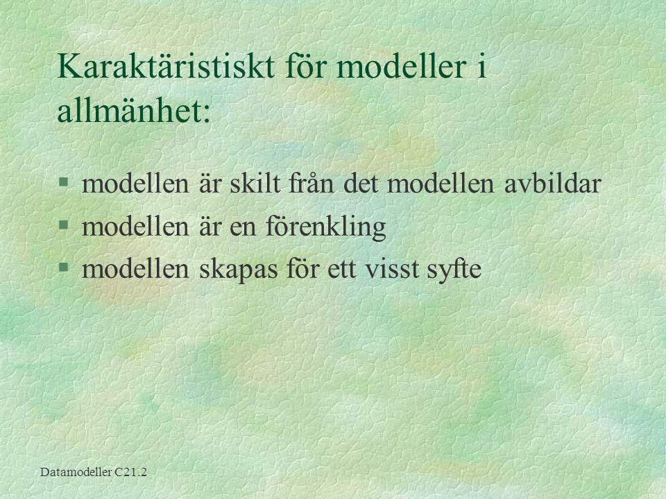 Datamodeller C21.2 Karaktäristiskt för modeller i allmänhet: §modellen är skilt från det modellen avbildar §modellen är en förenkling §modellen skapas