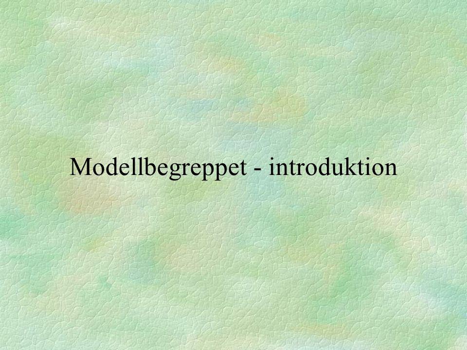 Datamodeller C21.2 Karaktäristiskt för modeller i allmänhet: §modellen är skilt från det modellen avbildar §modellen är en förenkling §modellen skapas för ett visst syfte