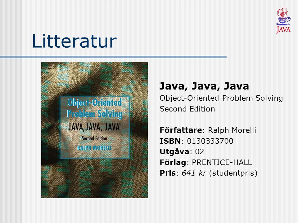 Litteratur Java, Java, Java Object-Oriented Problem Solving Second Edition Författare: Ralph Morelli ISBN: 0130333700 Utgåva: 02 Förlag: PRENTICE-HALL Pris: 641 kr (studentpris)