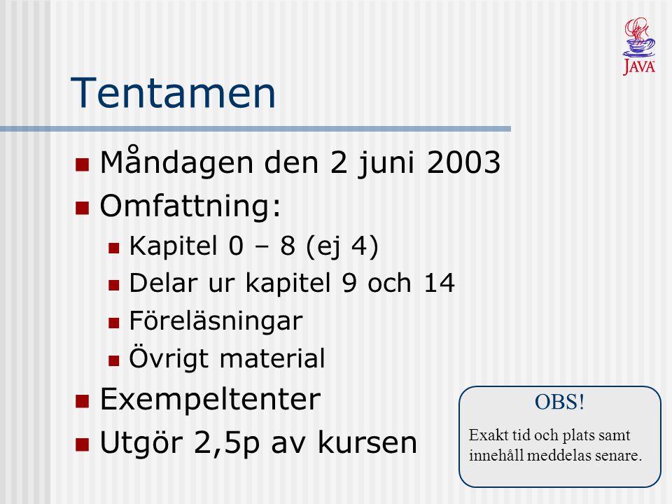 Tentamen Måndagen den 2 juni 2003 Omfattning: Kapitel 0 – 8 (ej 4) Delar ur kapitel 9 och 14 Föreläsningar Övrigt material Exempeltenter Utgör 2,5p av kursen OBS.