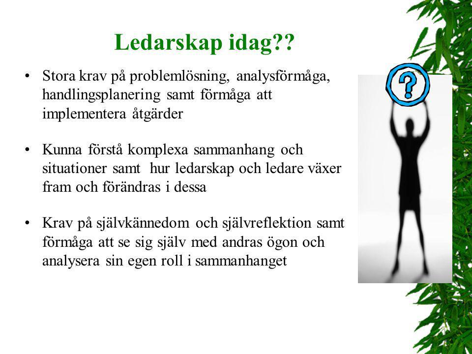 Ledarskap idag?? Stora krav på problemlösning, analysförmåga, handlingsplanering samt förmåga att implementera åtgärder Kunna förstå komplexa sammanha