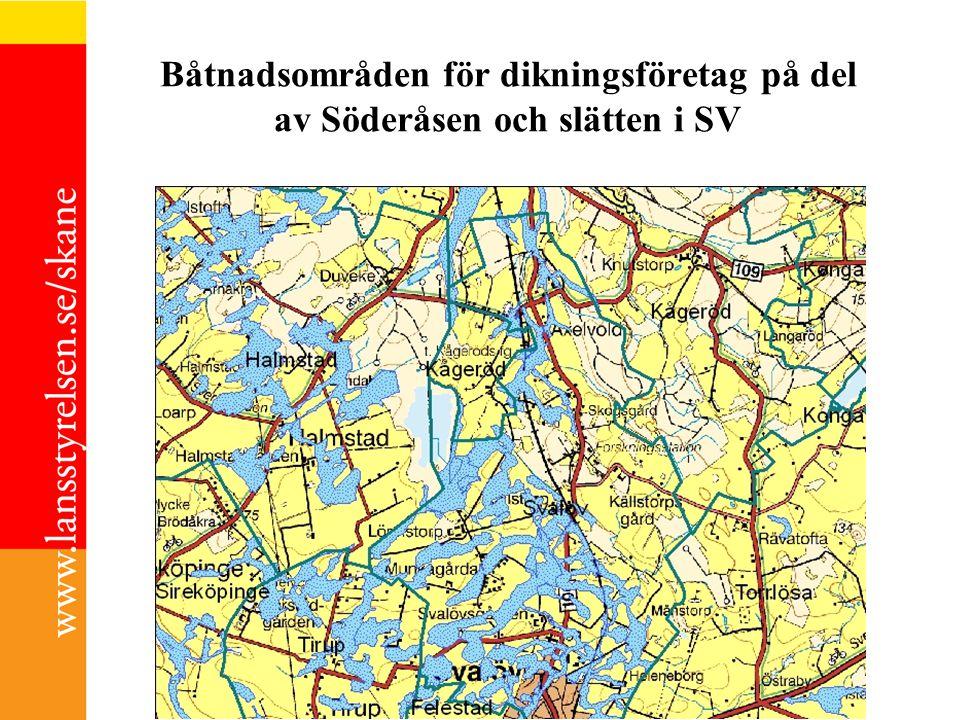 Båtnadsområden för dikningsföretag på del av Söderåsen och slätten i SV