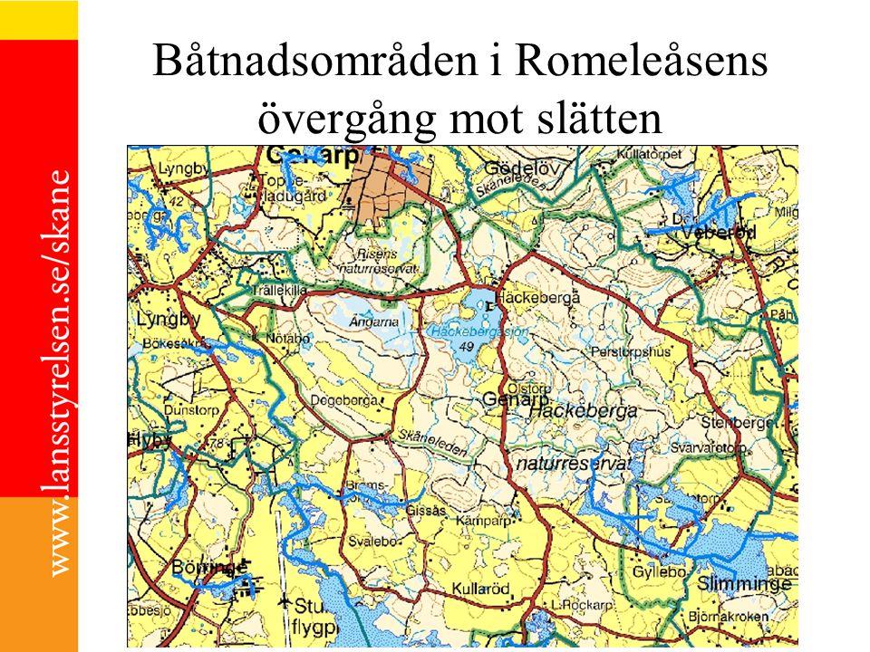 Båtnadsområden i Romeleåsens övergång mot slätten