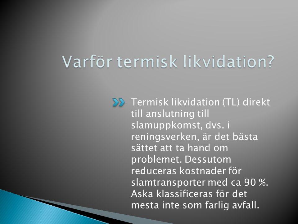 Termisk likvidation (TL) direkt till anslutning till slamuppkomst, dvs.