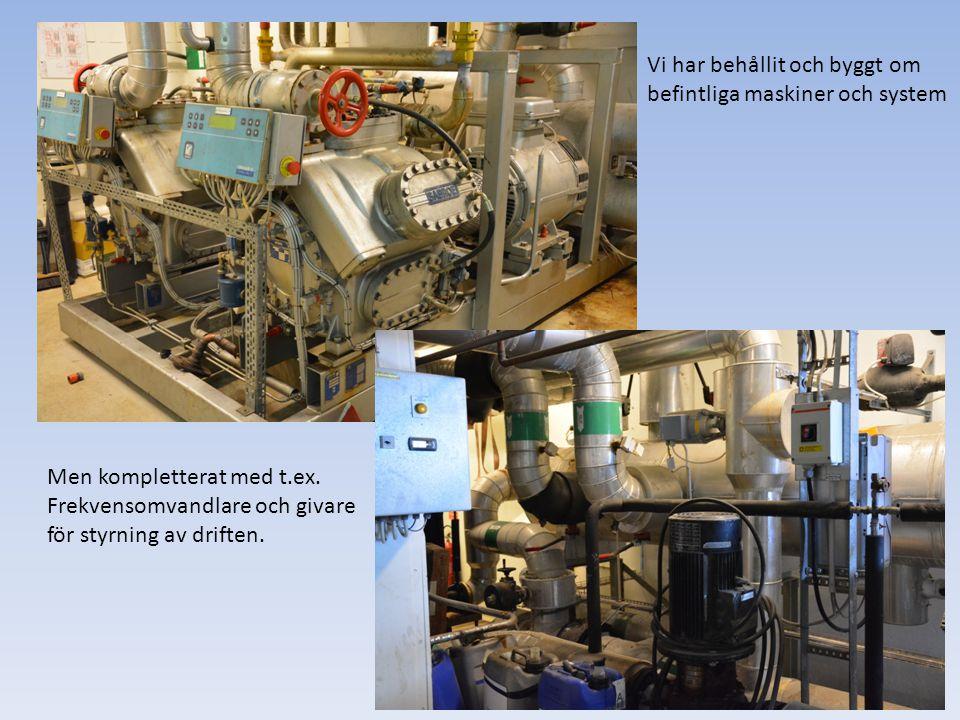 Vi har behållit och byggt om befintliga maskiner och system Men kompletterat med t.ex. Frekvensomvandlare och givare för styrning av driften.