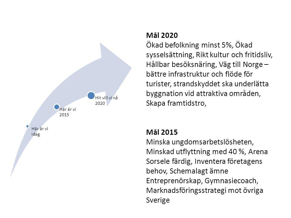 Här är vi idag Här är vi 2015 Hit vill vi nå 2020 Mål 2020 Ökad befolkning minst 5%, Ökad sysselsättning, Rikt kultur och fritidsliv, Hållbar besöksnäring, Väg till Norge – bättre infrastruktur och flöde för turister, strandskyddet ska underlätta byggnation vid attraktiva områden, Skapa framtidstro, Mål 2015 Minska ungdomsarbetslösheten, Minskad utflyttning med 40 %, Arena Sorsele färdig, Inventera företagens behov, Schemalagt ämne Entreprenörskap, Gymnasiecoach, Marknadsföringsstrategi mot övriga Sverige