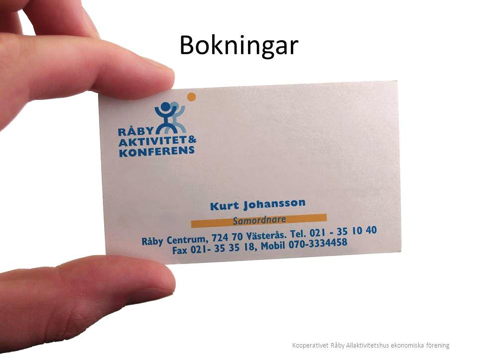 Kooperativet Råby Allaktivitetshus ekonomiska förening Bokningar