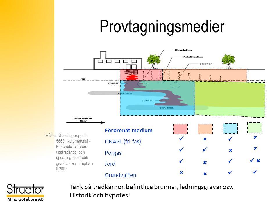 Miljö Göteborg AB Provtagningsmedier Förorenat medium DNAPL (fri fas) Porgas Jord Grundvatten     Tänk på trädkärnor, befintliga brunnar, ledningsgravar osv.