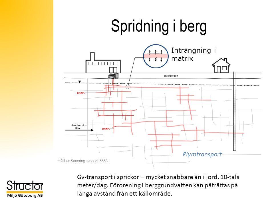 Miljö Göteborg AB Spridning i berg Plymtransport Inträngning i matrix Gv-transport i sprickor – mycket snabbare än i jord, 10-tals meter/dag.