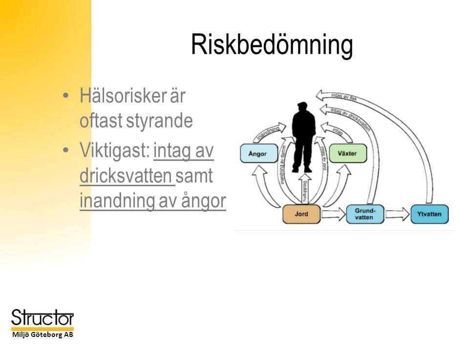 Miljö Göteborg AB Riskbedömning Hälsorisker är oftast styrande Viktigast: intag av dricksvatten samt inandning av ångor