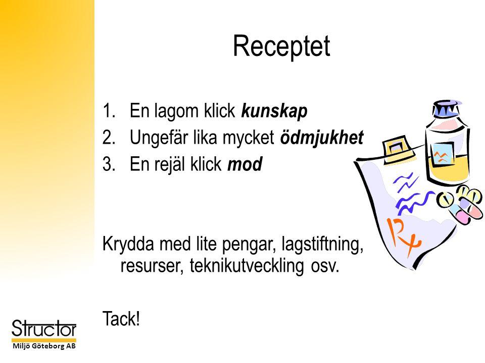 Miljö Göteborg AB Receptet 1.En lagom klick kunskap 2.Ungefär lika mycket ödmjukhet 3.En rejäl klick mod Krydda med lite pengar, lagstiftning, resurser, teknikutveckling osv.