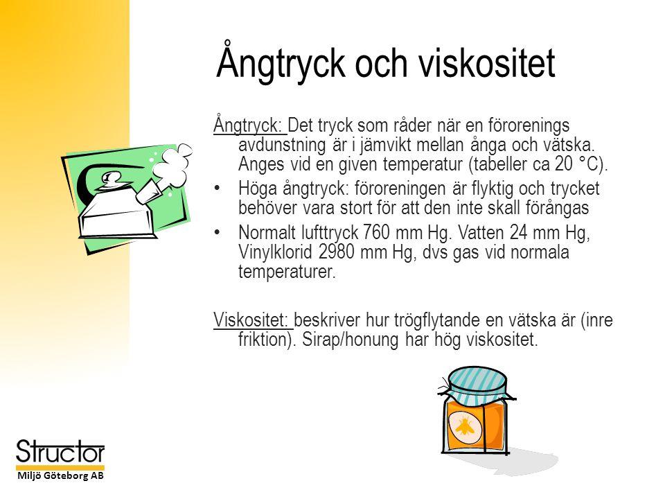Miljö Göteborg AB Ångtryck och viskositet Ångtryck: Det tryck som råder när en förorenings avdunstning är i jämvikt mellan ånga och vätska.
