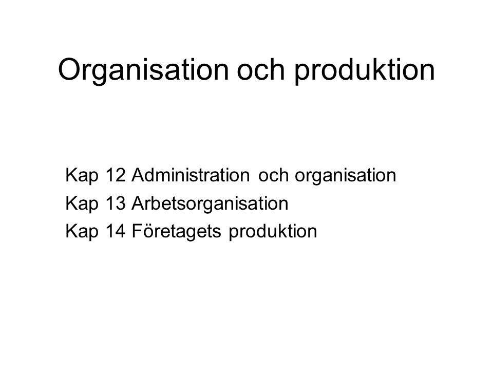 Organisation och produktion Kap 12 Administration och organisation Kap 13 Arbetsorganisation Kap 14 Företagets produktion