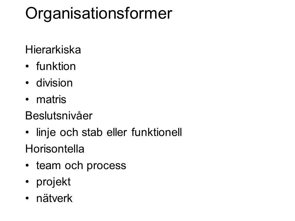 Organisationsformer Hierarkiska funktion division matris Beslutsnivåer linje och stab eller funktionell Horisontella team och process projekt nätverk
