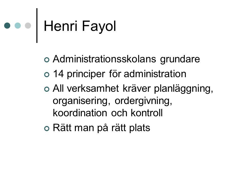 Henri Fayol Administrationsskolans grundare 14 principer för administration All verksamhet kräver planläggning, organisering, ordergivning, koordinati