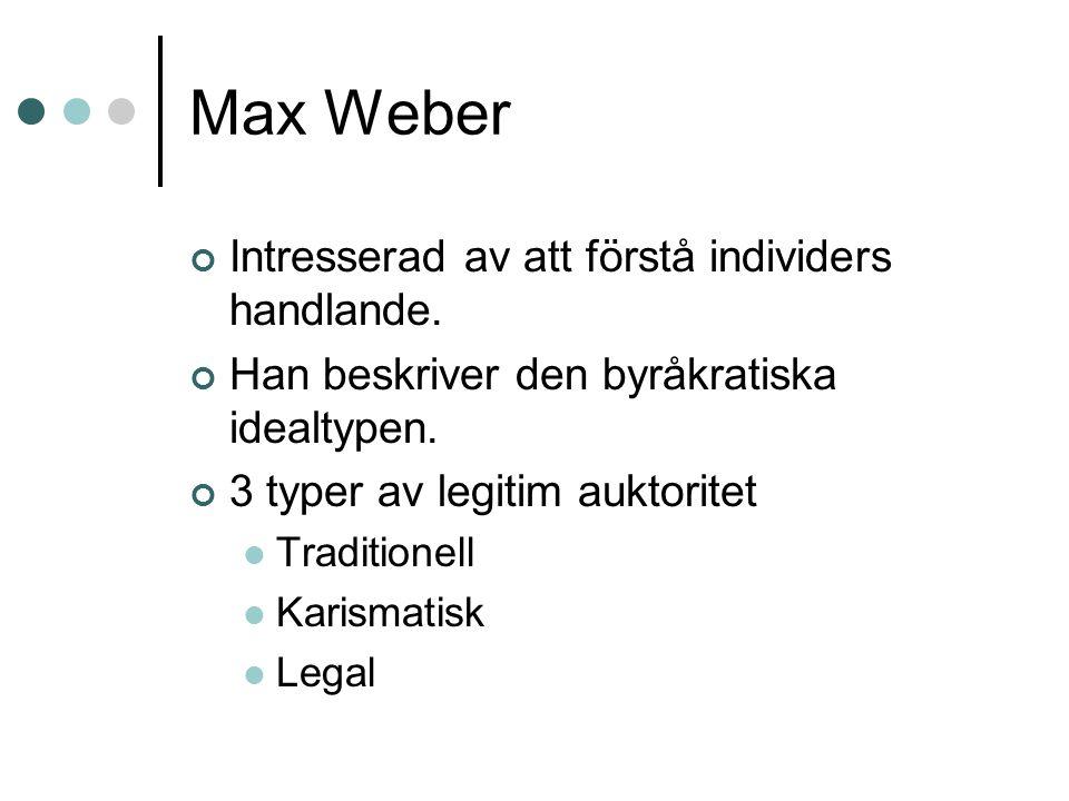 Max Weber Intresserad av att förstå individers handlande. Han beskriver den byråkratiska idealtypen. 3 typer av legitim auktoritet Traditionell Karism