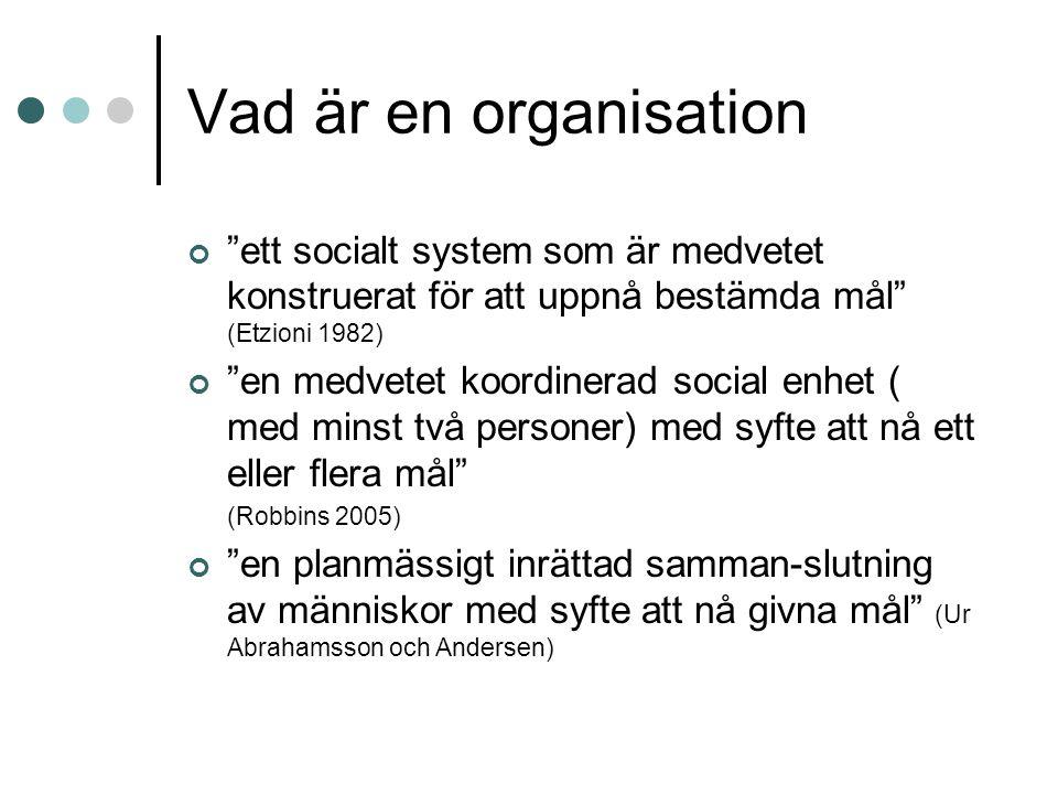 """Vad är en organisation """"ett socialt system som är medvetet konstruerat för att uppnå bestämda mål"""" (Etzioni 1982) """"en medvetet koordinerad social enhe"""