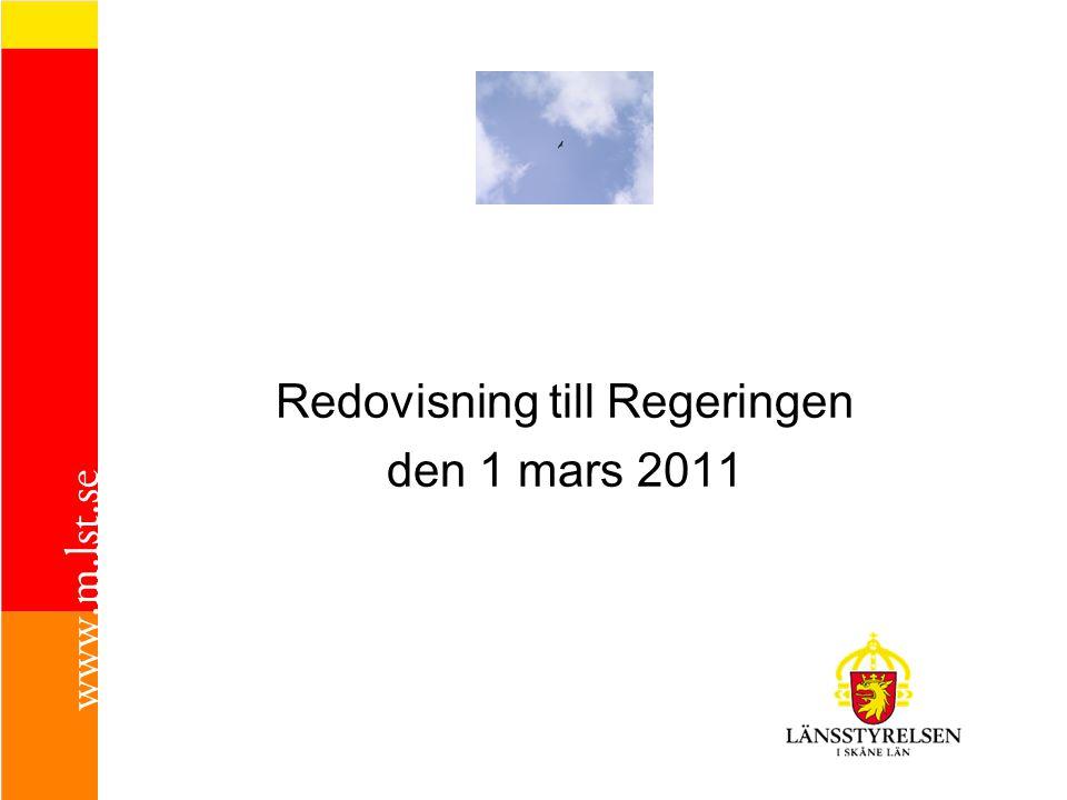 Redovisning till Regeringen den 1 mars 2011