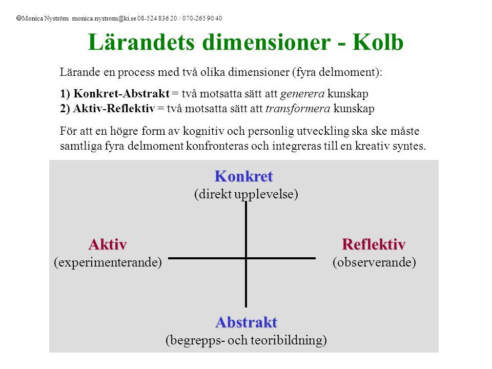 Lärandets dimensioner - Kolb Lärande en process med två olika dimensioner (fyra delmoment): 1) Konkret-Abstrakt = två motsatta sätt att generera kunsk