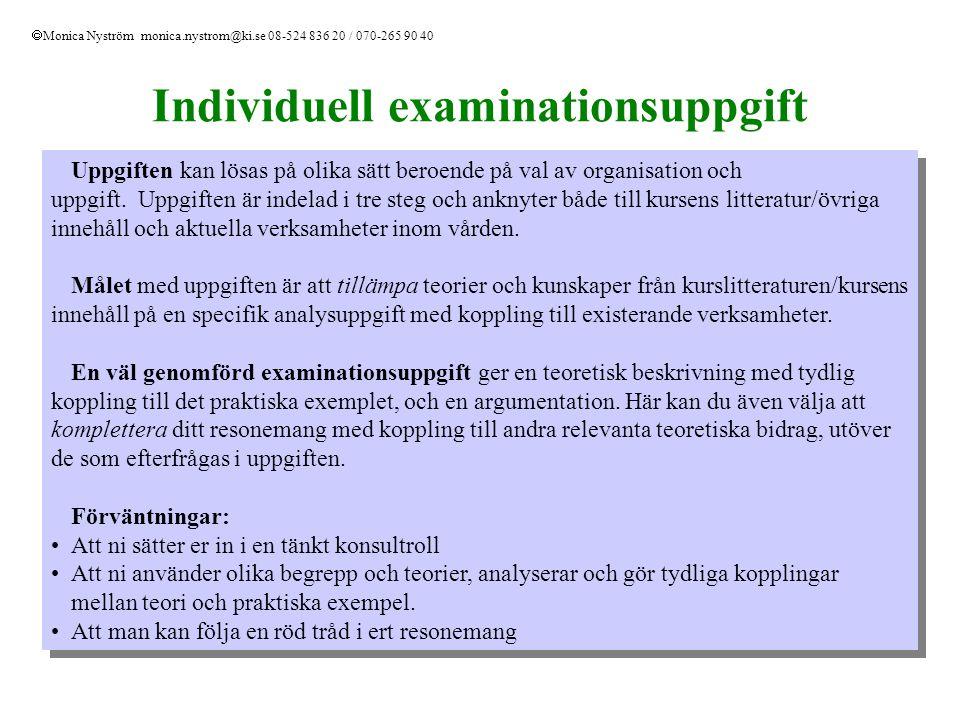 Hälso- och sjukvården i Sverige Ansvarfördelning – Offentligt reglerad: Staten – övergripande ansvar, reglering och tillsyn Landsting – huvuddelen av ansvaret, utförare Kommuner – ansvar för hälso- och sjukvård i särskilda boendeformer och dagverksamhet 18 Landsting och 2 regioner + Gotlands kommun som har landstingsansvar Privat – offentlig verksamhet Finansiering – Offentligt finansierat, skatter/försäkringar till mer än 80% Decentralisering – Marknadsanpassning - prestationsfinansiering - kvalitetssäkring Beställar-utförarmodell  Monica Nyström monica.nystrom@ki.se 08-524 836 20