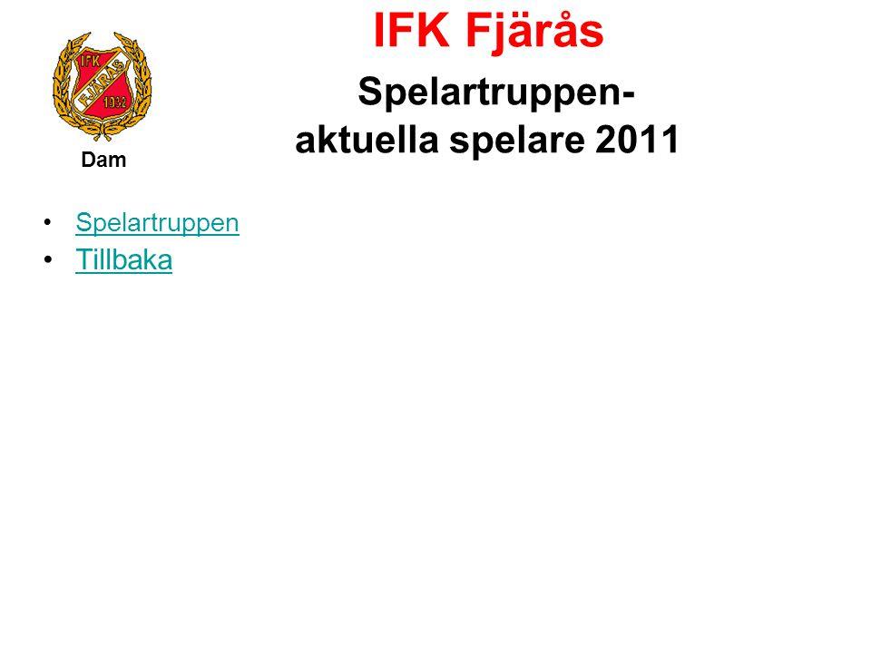 IFK Fjärås Spelartruppen- aktuella spelare 2011 Dam Spelartruppen Tillbaka