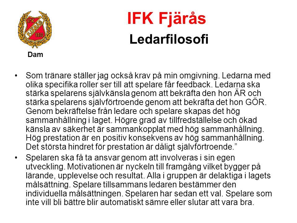 IFK Fjärås Ledarfilosofi Dam Som tränare ställer jag också krav på min omgivning. Ledarna med olika specifika roller ser till att spelare får feedback