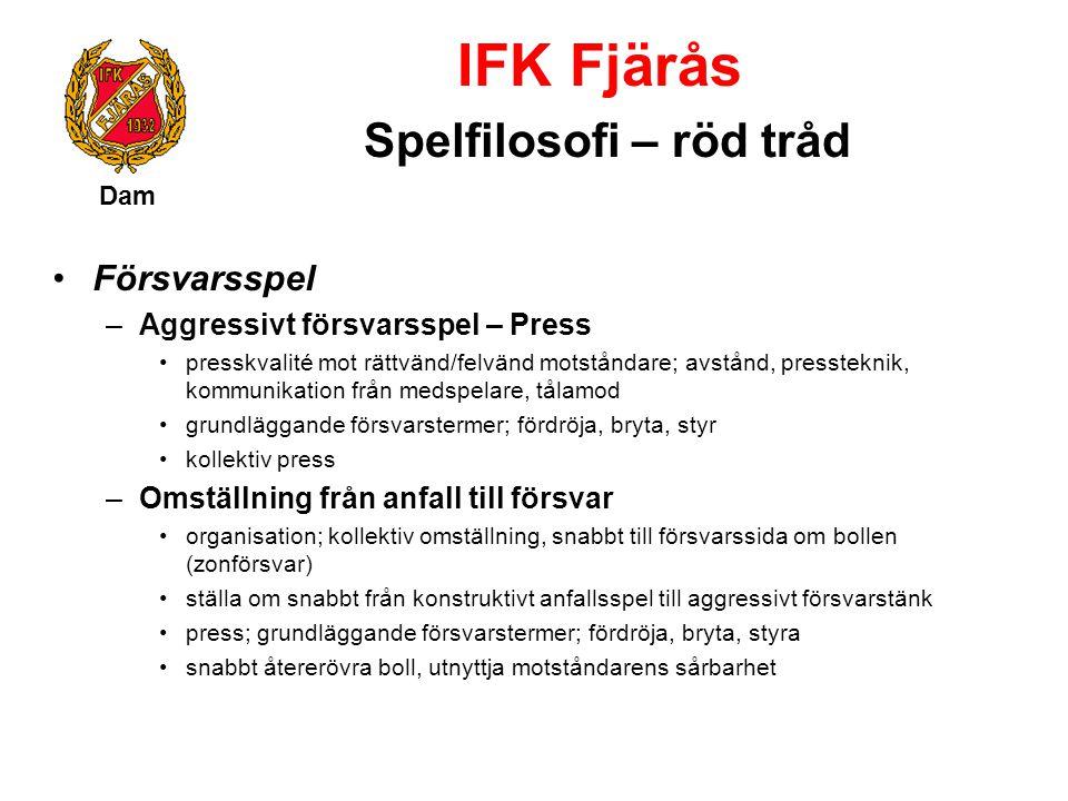 IFK Fjärås Spelfilosofi – röd tråd Dam Försvarsspel –Aggressivt försvarsspel – Press presskvalité mot rättvänd/felvänd motståndare; avstånd, presstekn