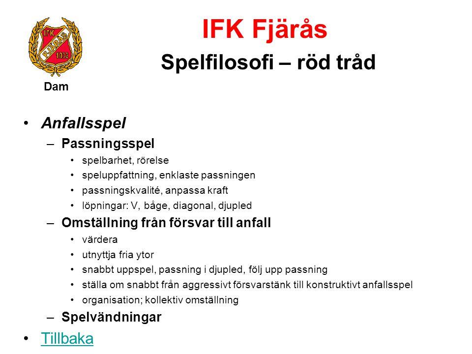 IFK Fjärås Spelfilosofi – röd tråd Dam Anfallsspel –Passningsspel spelbarhet, rörelse speluppfattning, enklaste passningen passningskvalité, anpassa k