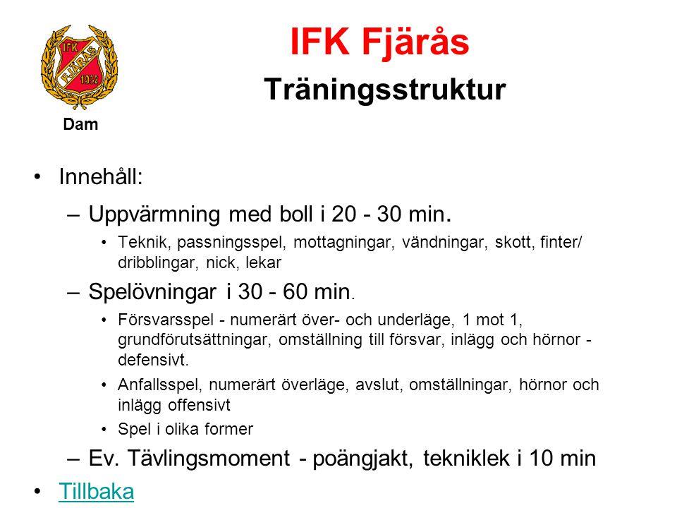 IFK Fjärås Träningsstruktur Dam Innehåll: –Uppvärmning med boll i 20 - 30 min. Teknik, passningsspel, mottagningar, vändningar, skott, finter/ dribbli