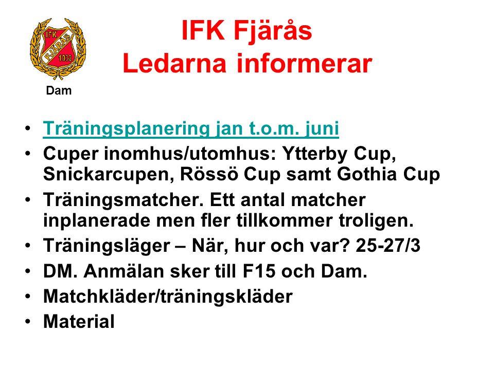IFK Fjärås Ledarna informerar Dam Träningsplanering jan t.o.m. juni Cuper inomhus/utomhus: Ytterby Cup, Snickarcupen, Rössö Cup samt Gothia Cup Tränin