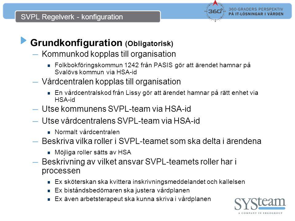 SVPL Regelverk för kommun & öppenvård Specialkonfiguration för vissa ärenden (vid behov) ― Skapas per mottagande enhet ― Utökar eller ersätter roller i SVPL-teamet Används om rollen i SVPL-teamet ska ersättas med annan Används om SVPL-teamet inte innehåller en roll som krävs i vissa ärenden ― Ex Om avsändaren är en psykiatrisk enhet ska denna enhets biståndsbedömare hantera ärendet istället för den i SVPL-teamet ― Ex Om patienten är under 65 ska denna enhets biståndsbedömare hantera ärendet istället för den i SVPL-teamet ― Ytterligare fall av specialhantering möjligt att beskriva Personer folkbokförda på viss adress (boenden) Boenden där patienterna inte är folkbokförda (via personnummer) Personliga val av utförare (via personnummer) ― Manuell styrning av pågående ärende Lägga till roller inom den egna organisationen som deltagare Lägga till roller i den egna organisationen som läsare Byta ut sin egen roll mot samma roll i annan enhet (även organisation?)