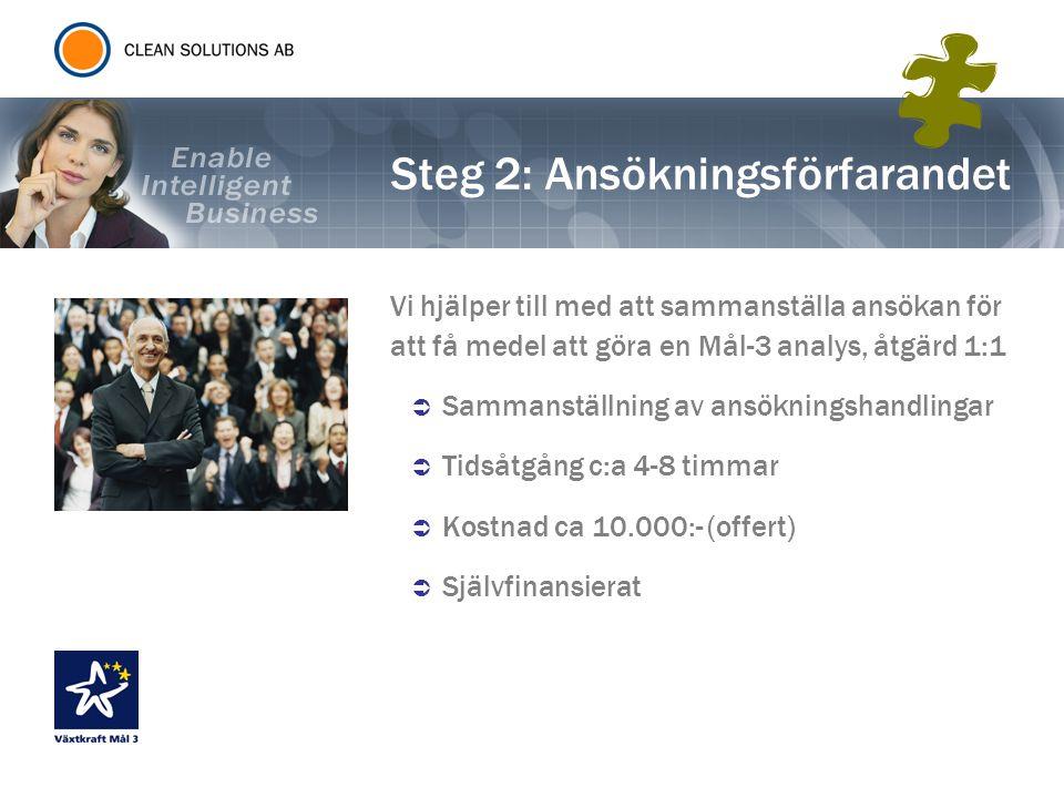 Steg 3: Företagsanalys Företagsanalys (Kostnadstäckning 100%) Analysen omfattar:  Genomförande av analysen  Ta fram handlingsplan  Skapa individuella utvecklingsplaner  Sammanställa ansökningshandlingar för sökandet av ytterligare medel för kompetensutveckling, åtgärd 1:2 Kostnaderna för genomförandet av analysen täcks till 100% upp till ett belopp av 4000 per medarbetare (10 000 kr för den förste), max 200 000 kronor per företag.