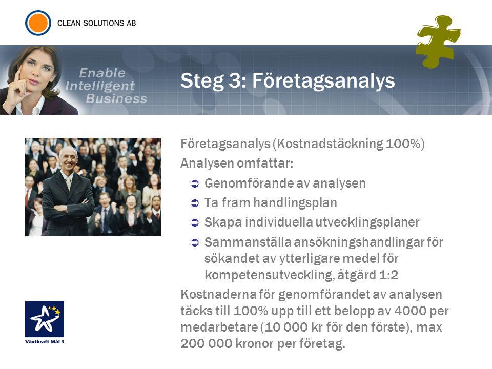 Steg 3: Företagsanalys Företagsanalys (Kostnadstäckning 100%) Analysen omfattar:  Genomförande av analysen  Ta fram handlingsplan  Skapa individuel