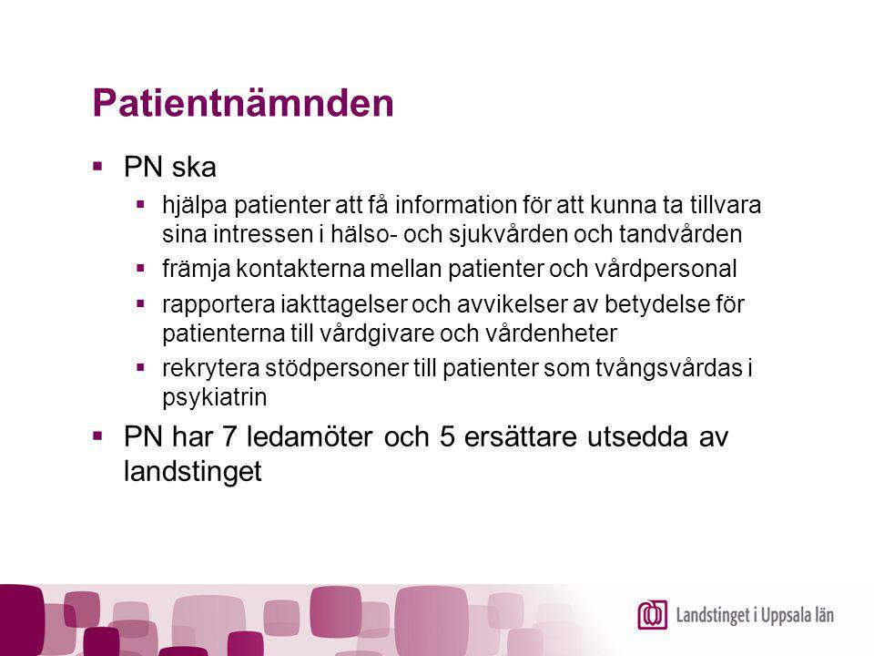Patientnämnden  PN ska  hjälpa patienter att få information för att kunna ta tillvara sina intressen i hälso- och sjukvården och tandvården  främja