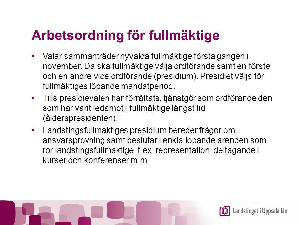 Arbetsordning för fullmäktige  Valår sammanträder nyvalda fullmäktige första gången i november. Då ska fullmäktige välja ordförande samt en förste oc